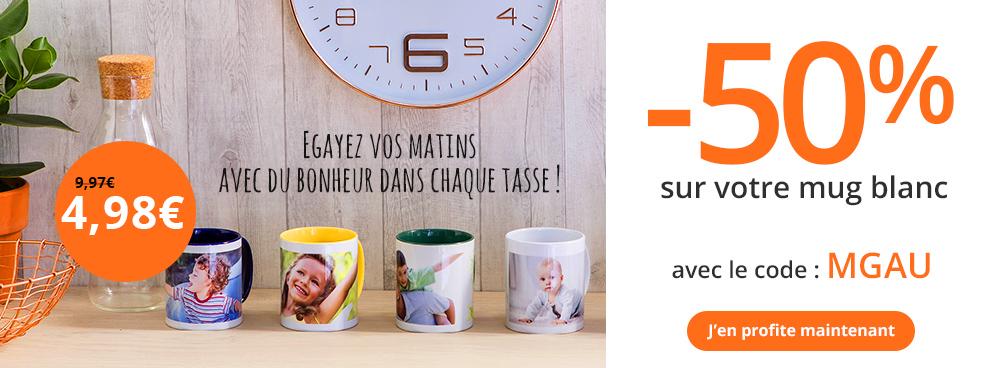 50 sur votre mug photo personnalis et livraison gratuite auchan photo. Black Bedroom Furniture Sets. Home Design Ideas